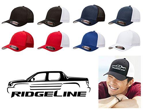 Honda Ridgeline Pickup Truck Classic Outline Design Flexfit Trucker Trucker Hat Cap Black
