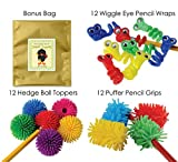36 Piece Fidget Pencil Toppers, Wraps & Grips Bundle Pack For Kids at Home ...