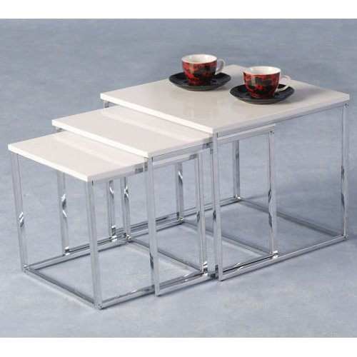 White And Chrome Coffee Table: White And Chrome Modern Coffee Table Set Dining Living