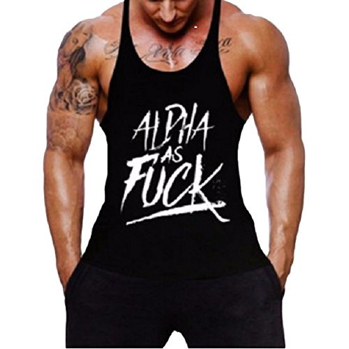 Cotton Muscle Shirt (New Fi Gym Men Muscle Sleeveless Shirt Tank Top Cotton Workout Fitness Vest (Black, XL))