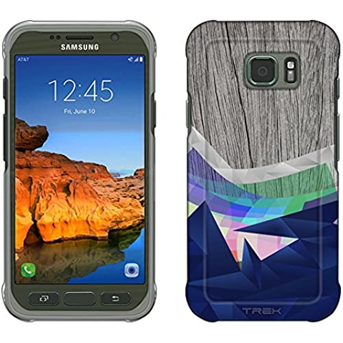 Samsung Galaxy S7 Active Case, Snap On Cover by Trek Geometric Waves on Wood Slim Case Sales