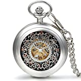 JewelryWe Classic Silver Hollow Floral Carved Roman Numerals Mechanical Pocket Watch with 15 Inch Chain