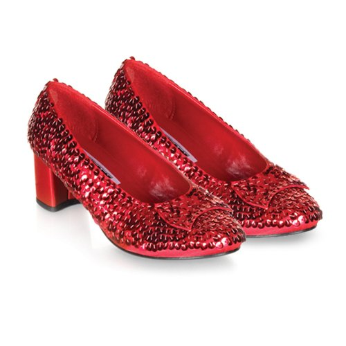 Red Sequin Judy Shoes (Big Girls' Red Sequin Judy Shoes - Child Costume Accessory - Medium)