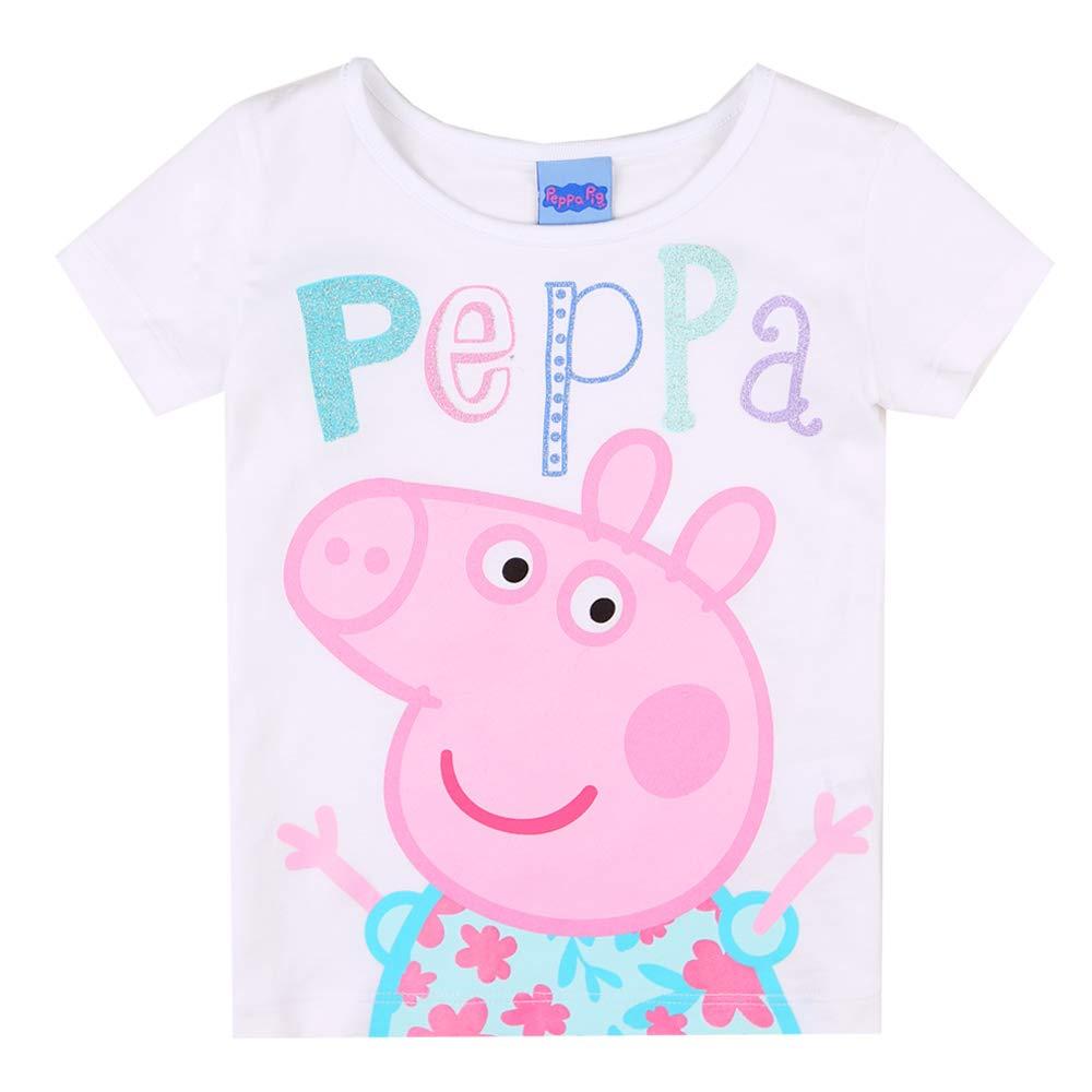 Peppa Pig Ragazze T-Shirt Bianco Maglietta