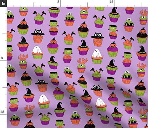 Halloween Cupcakes Fabric - Spooky Scary Food Cupcake Witch Frankenstein Ghost Print on Fabric by The Yard - Velvet for Upholstery Home Decor Bottomweight Apparel ()