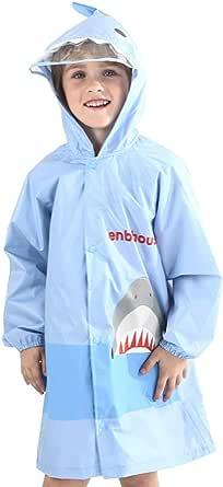 OldPAPA Capa de La Lluvia de Los Niños Poncho de La Lluvia Impermeable Capa de Lluvia Unisex de La Forma del Tiburón para Los Muchachos y Las Muchachas