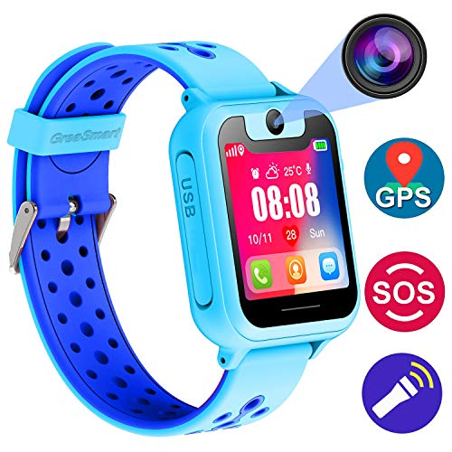Kids Smartwatch with GPS Tracker Phone Remote Monitor Camera Touch Screen One Game Anti Lost Alarm Clock App Control by Parents for Children Boys Girls Compatible with Android iPhone (01 S6 Blue) -