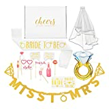 Bachelorette Party Decorations Kit--Bridal Shower Supplies with Cheers Gift Box: Veil & Bride-To-Be Sash, Bride Tribe Tattoos, Diamond Ring Balloon, Photo Booth Props & Miss to Mrs. Banner