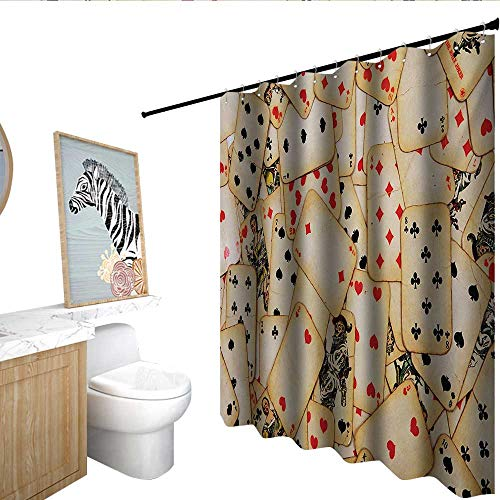 homecoco Casino Waterproof Bathtub Curtain Old Playing Cards Themed Vintage Classic Style Entertaining Wealth Fortune Bathroom Window Curtains Beige Red Black]()