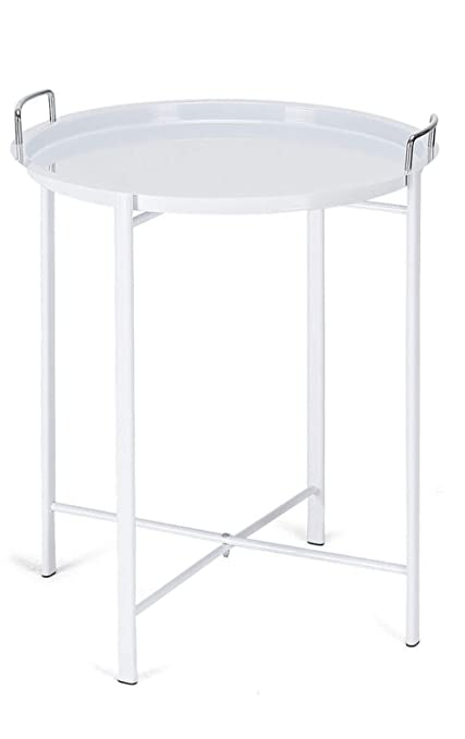 Amazon Com Adumly Color White Round White Metal Tray End Side Table