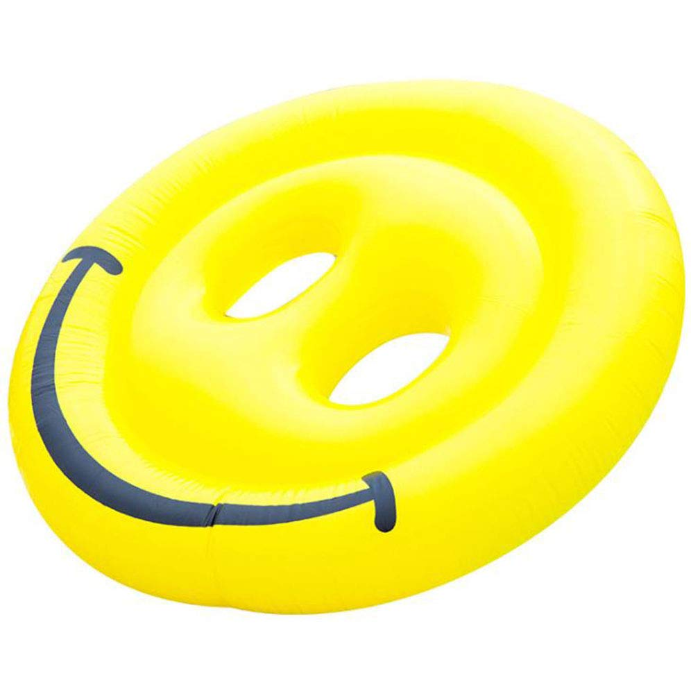 Inflatable Emoji Smiley Face Floating Row Adults Kids Summer Beach Toy Swimming Pool Party Lounge Round Raft-Yellow