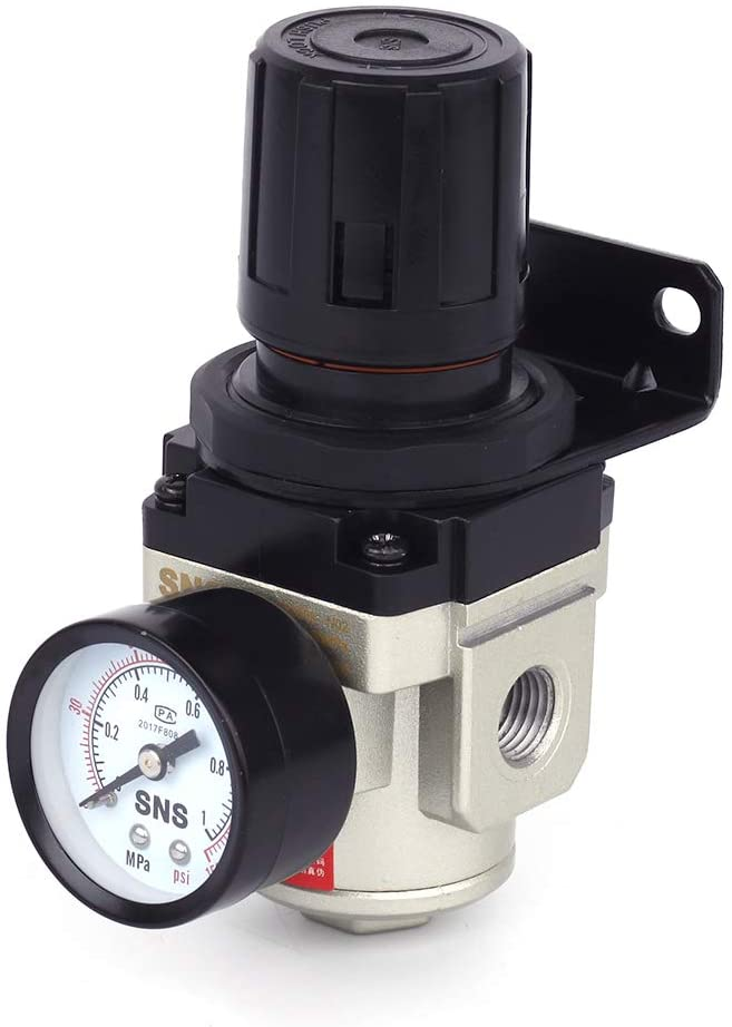 SNS AR3000-N02 Female Thread 1/4 NPT Air Pressure Regulator 0-150 PSI Adjustable,Bracket,Gauge