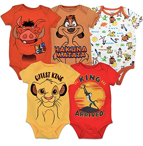 Disney Lion King Baby Boys' 5 Pack Bodysuits Simba Timon Pumbaa, 3-6 Months -