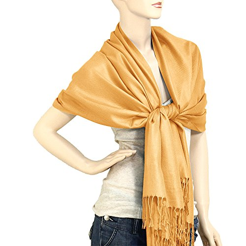 Golden Wrap (Falari Women's Solid Color Pashmina Shawl Wrap Scarf 80