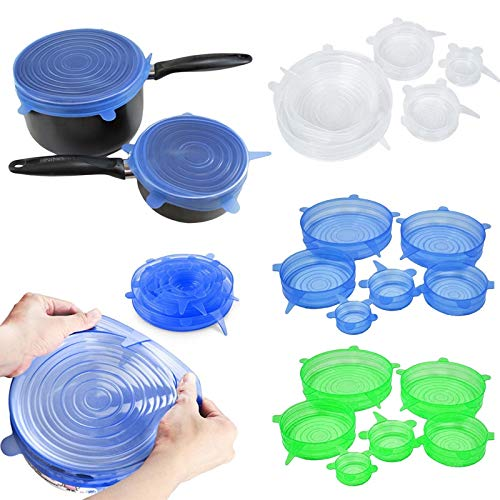 | Cookware Lids | 6Pcs Silicone Cover Universal Silicone Suction Lid bowl Pan Cooking Pot Lid silicon Stretch Cover Kitchen Pan Cap | by NAHASU