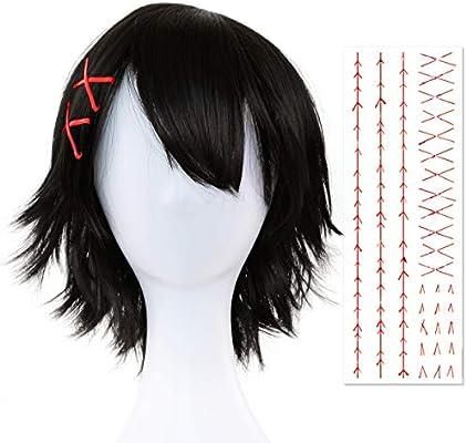 Papapanda Black Wig Hairgrips Tattoo For Tokyo Ghoul Re Juuzou