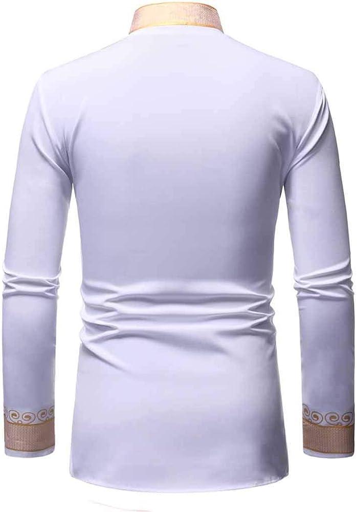 Camisas Hombres, Dragon868 Cuello de Estilo Africano para Hombre Traje Largo Casual Camisas de Manga Larga con Estampado Africano Camisa de Cuello En V Blusa Tops, S-XXL: Amazon.es: Ropa y accesorios