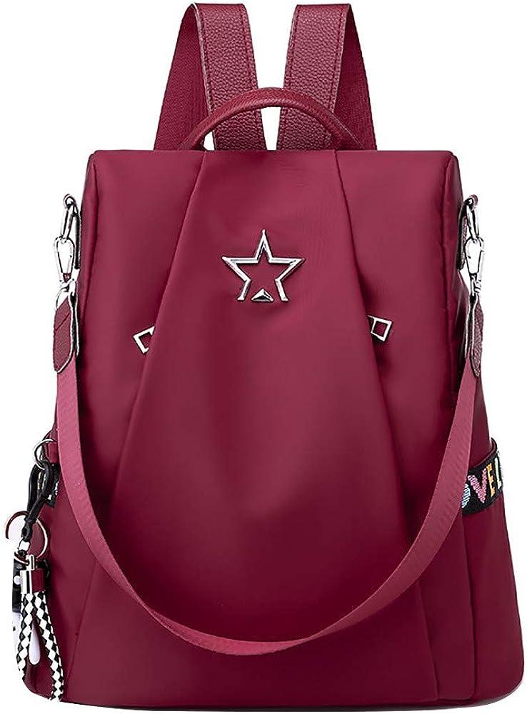 Mochila para mujer, Damas con estilo Mochila de nylon impermeable Bolsos escolares Antirrobo Casual Dayback Bolsas de hombro Mochila de viaje ligera moda cuero backpack