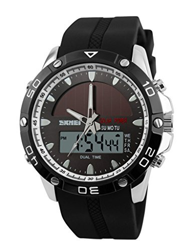 Auspicious beginning Multifunction digital LED solar & electronic powered sport watches, silver by Auspicious beginning