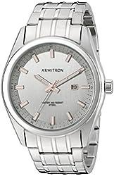 Armitron Men's 20/5089GYSV Date Function Dial Silver-Tone Bracelet Watch