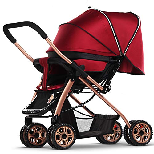 Stroller Lightweight Shock Two-Way Baby Stroller Can Sit and Fold The Luxury Version,Red