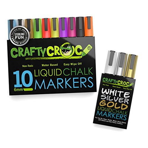 (Liquid Chalk Markers, 10 Pack of Neon Chalk Pens and 3 Pack Gold Silver White Set, For Nonporous Chalkboards, Bistro Boards, Glass and Windows)