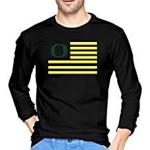 Men's Oregon Ducks Flag Tshirts Black 100% Cotton