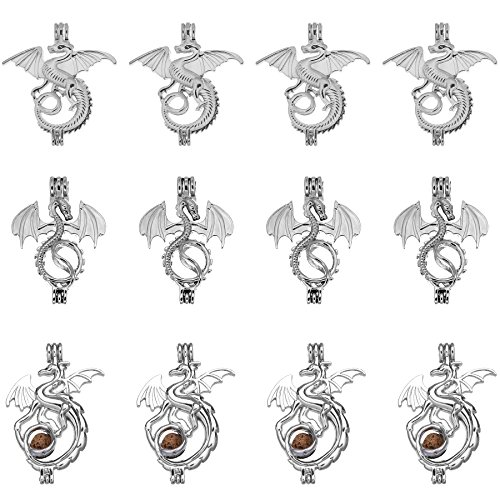 12pcs Mixed Dragons Rhodium Plated Hollow Pendants Pearl Bead Cage Pendant Essential Oil Scent Diffuser Pendant Necklace Jewelry Making Supplies (Style3) ()