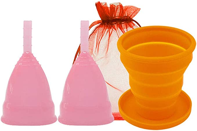 Menstrual Taza - 2 Piezas De Silicona Médica Copa Menstrual ...