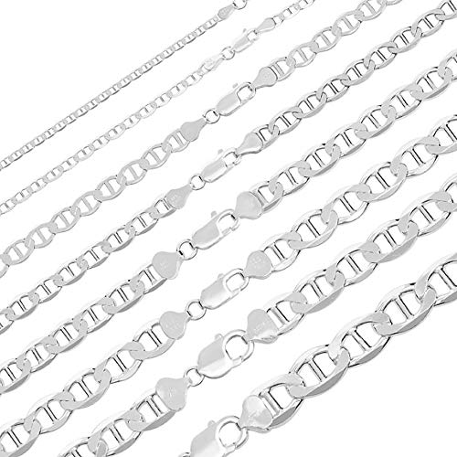 Men's Ladies Solid 925 Sterling Silver Mariner Link Chain - 3-12mm 18-30