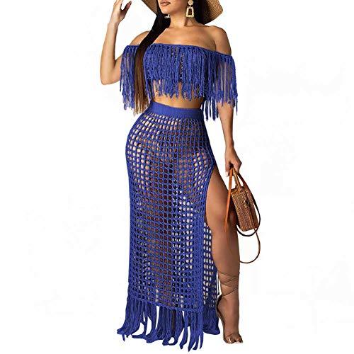 Ekaliy Women's Two Piece Outfits - Short Sleeve Mesh Crop Top + High Slit Long Skirts Set Dress Summer Blue - Mesh Set Skirt