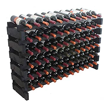 b976dd27b0 Black, Stackable Modular Wine Rack Stackable Storage Stand Display Shelves,  Wobble-Free, Pine Wood (6 Rows, 72 Bottle Capacity)