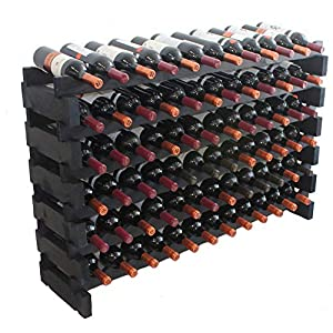 Black, Stackable Modular Wine Rack Stackable Storage Stand Display Shelves, Wobble-Free, Pine Wood