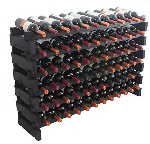 Black, Stackable Modular Wine Rack Stackable Storage Stand Display Shelves, Wobble-Free, Pine Wood (6 Rows, 72 Bottle - Modular Wine Storage