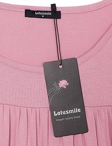 Lotusmile - Camiseta de manga larga - Túnica - Floral - Cuello redondo - para mujer Rosa Oscuro
