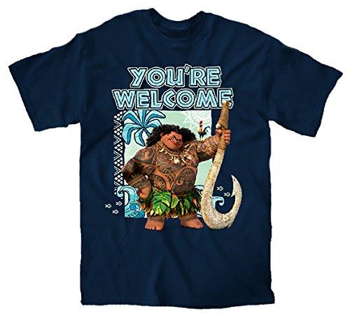 Disney Moana Maui You're Welcome T-shirt (Medum, Navy) (Disney Clothing For Adults)