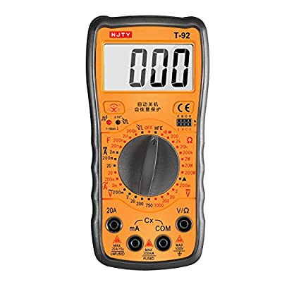 Kiamitor T-92 Self-Recovery Digital Multimeter Amp/Ohm/Volt with Diode,Continuity, Capacitance,hFE,IR Detector and Livewire Identification