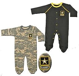 2pk Acu Baby Army Crawlers / Sleepers Black & Camoflauge (0-3 Months)