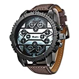 Big Dial Oulm Watches Male Watch Montres de Marque de Luxe Relojes Lujo Marcas Men Military Army Clock Erkek Saat 4 Time Zone