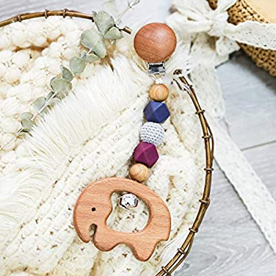 Organic Wooden Baby Teether Toy Olive Oil Beech Wood Elephant Shape Pendant Pacifier Clip BPA Free Silicone Beads Stroller Toys with Bell Handmade Smooth Clip: Toys & Games