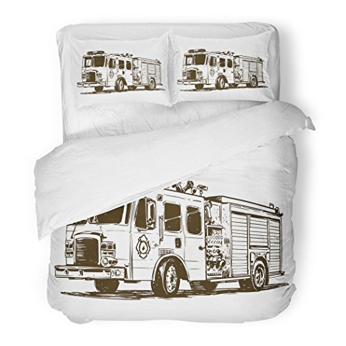 Set Red Automobile Fire Truck Drawing Black Danger Department Decorative Bedding Set with Pillow Case Twin Size ()