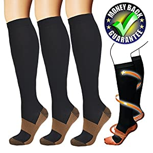 Copper Compression Socks For Men & Women(3 Pairs)-Best For Running,Athletic,Medical,Pregnancy and Travel -15-20mmHg(Black-S)