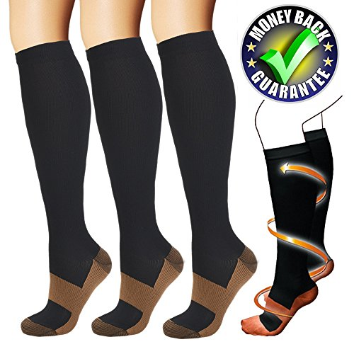Copper Compression Socks For Men & Women(3 Pairs)-Best For Running,Athletic,Medical,Pregnancy and Travel -15-20mmHg(Black-L) …