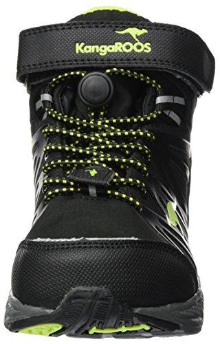KangaROOS Tramp Hi, Zapatillas de Senderismo Unisex Niños Schwarz (Jet Black/Lime)