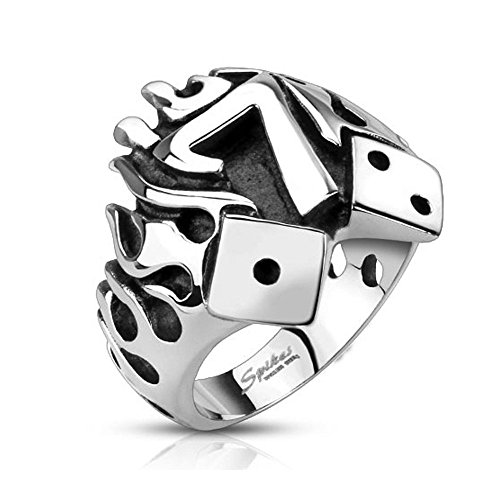 Crazy2Shop Stainless Steel Flaming Lucky Seven With Dice Cast Ring, Ring Width of 22MM