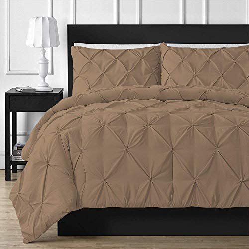 Duvet Cover Pinch Pleated 3 Pieces 100% Egyptian Cotton 600 Thread Count Hypoallergenic Pintuck Decorative (1 Duvet Cover 2 Pillow Covers)(Cal King/King, Taupe)