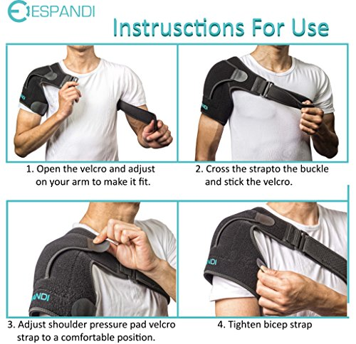 Shoulder Brace with Pressure Pad for women or men; Rotator Cuff Support for Injury Prevention; Dislocated AC Joint; Labrum Tear; Shoulder Pain; Sprain; Neoprene Compression Sleeve; Adjustable Strap by Espandi (Image #4)