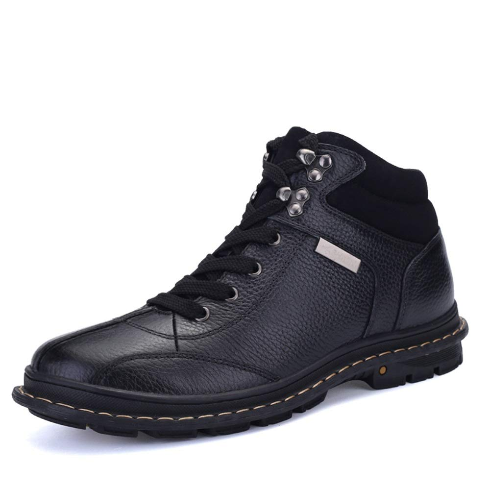 Black SRY-Fashion shoes Men's Simple Fashionable Ankle Boots Casual Comfortable and High-top with Velvet Work Boots