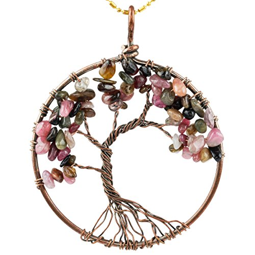 SUNYIK Tourmaline Tree of Life Pendant,Tumbled Stone Round Wire Wrapped Necklace,Healing Chakra