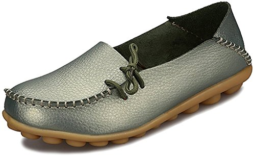 Fangsto Women's Leather Slipper Loafers Flat Shoes Slip-Ons US Size 5.5 Metalic ()